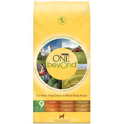 Purina Presents Purina One Beyond Dog White Meat Chicken &amp; Whole Oat Meal Recipe 14lb Bag. Purina One Beyond Dog White Meat Chicken &amp; Whole Oat Meal Recipe Use Natural Ingredients, Plus Vitamins and Minerals, and are Crafted without Added Fillers or Artificial Preservatives. One Beyond Start with Real White Meat Chicken. High-Quality Protein Helps Maintain Strong Muscles - Including a Healthy Heart. Whole Grain Goodness from Oat Meal, Barley and Brown Rice. Adds Fiber for Healthy Digestion, Carbohydrate for Energy and Omega-6 Fatty Acids for a Shiny Coat. Accents of Carrots, Tomatoes and Apples, Harvested from Nutrient-Rich Soil. Antioxidants, Vitamins and Minerals in our Recipe Help Support your Dog's Immune System. Marine-Sourced Omega-3 Fatty Acids. Nutrients that Help Give your Dog Noticeably Bright Eyes and Healthy Skin. [37885]