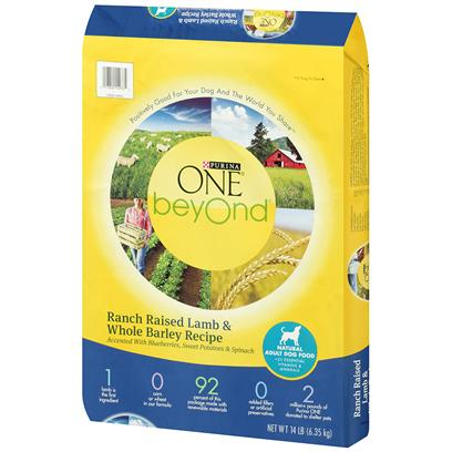 Purina Presents Purina One Beyond Dog Ranch Raised Lamb &amp; Whole Barley Recipe 14lb Bag. Purina One Beyond Dog Ranch Raised Lamb &amp; Whole Barley Recipe Uses Natural Ingredients, Plus Vitamins and Minerals, and are Crafted without Added Fillers or Artificial Preservatives. One Beyond Start with Real Ranch-Raised Lamb. High-Quality Protein Helps Maintain Strong Muscles - Including a Healthy Heart. Whole Grain Goodness from Barley, Brown Rice and Oat Meal. Adds Fiber for Healthy Digestion, Carbohydrate for Energy and Omega-6 Fatty Acids for a Shiny Coat. Accents of Blueberries, Sweet Potatoes and Spinach, Harvested from Nutrient-Rich Soil. Antioxidants, Vitamins and Minerals in our Recipe Help Support your Dog's Immune System. Marine-Sourced Omega-3 Fatty Acids. Nutrients that Help Give your Dog Noticeably Bright Eyes and Healthy Skin. [37886]