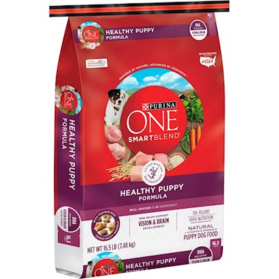 Purina Presents Purina One Smartblend Healthy Puppy Formula 16.5lb Bag. Purina One Smartblend Healthy Puppy Formula Starts with Real Chicken as the #1 Ingredient. Plus Rice, Oat Meal and Other Key Ingredients - all in Amounts that Provide High Levels of Essential Nutrients. Why? Because Puppies Aren't Dogs. They Need More - Including More Protein to Get Growing. And this Blend Gives them all that Including Dha, a Nutrient also Found in Mother's Milk, for Vision and Brain Development. See, it's Choosing Ingredients that Work Better Together than they Ever Could on their Own that Inspired us to Call this Bag of Food Smartblend. [37887]