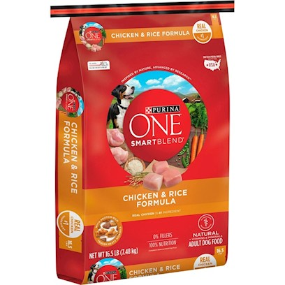 Purina Presents Purina One Smartblend Chicken &amp; Rice Formula 16.5lb Bag. Purina One Smartblend Chicken &amp; Rice Formula was Inspired by the Science in Nature, Discovering the Power of Smart Ingredients that Work Together for your Dog's Whole Body Health. Like Real Chicken as the First Ingredient. Why? Because it's Tastefully Rich in Protein. And just Like Puzzle Pieces that Fit Perfectly Together, Chicken Blends with Grains and Other Ingredients to Create a Complete Protein Profile. See, it's Choosing Ingredients that Work Better Together than they Ever Could on their Own that Inspired us to Call this Bag of Food Smartblend. [37891]