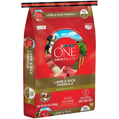 Purina Presents Purina One Smartblend Lamb &amp; Rice Formula 16.5lb Bag. Purina One Smartblend Lamb &amp; Rice Formula was Inspired by the Science in Nature, Discovering the Power of Smart Ingredients that Work Together for your Dog's Whole Body Health. Like Real Lamb as the First Ingredient. Why? Because it's Tastefully Rich in Protein. And just Like Puzzle Pieces that Fit Perfectly Together, Lamb Blends with Grains and Other Ingredients to Create a Complete Protein Profile. See, it's Choosing Ingredients that Work Better Together than they Ever Could on their Own that Inspired us to Call this Bag of Food Smartblend. [37893]