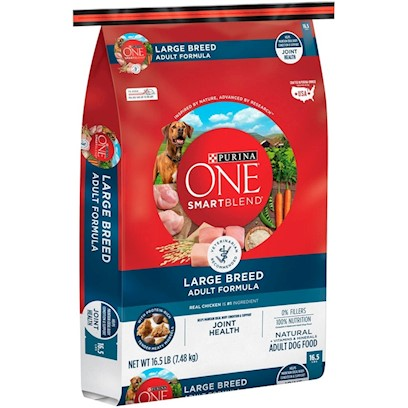 Purina Presents Purina One Smartblend Large Breed Adult Formula 16.5lb Bag. Purina One Smartblend Large Breed Adult Formula Uses Real Chicken as the First Ingredient, Along with Other Key Ingredients and Nutrients Including Rice and Glucosamine. Why? Because Feeding a Large Breed Dog is a Balancing Act. An Ideal Body Condition Helps Minimize Stress on Bones and Joints. And the Right Balance of Vitamins, Minerals and Other Nutrients Helps them Live Large, Healthy and Strong. See, it's Choosing Ingredients that Work Better Together than they Ever Could on their Own that Inspired Purina to Call this Bag of Food Smartblend. [37897]