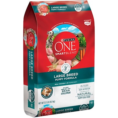 Purina Presents Purina One Smartblend Large Breed Puppy Formula 16.5lb Bag. Purina One Smartblend Large Breed Puppy Formula Uses Real Chicken as the First Ingredient, Along with Other Key Ingredients and Nutrients Including Rice and Glucosamine. Why? Because Feeding a Large Breed Puppy is a Balancing Act. An Ideal Body Condition Helps Minimize Stress on Growing Bones and Joints. And the Right Balance of Vitamins, Minerals and Other Nutrients Helps them Grow Healthy and Strong - in what Might Seem Like the Blink of an Eye. And this Blend Gives them all that Including Dha, a Nutrient also Found in Mother's Milk, for Vision and Brain Development. See, it's Choosing Ingredients that Work Better Together than they Ever Could on their Own that Inspired Purina to Call this Bag of Food Smartblend. [37899]