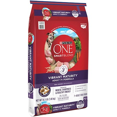 Purina Presents Purina One Smartblend Vibrant Maturity 7+ Senior Formula 16.5lb Bag. Purina One Smartblend Vibrant Maturity 7+ Senior Formula was Inspired by the Science in Nature, Discovering the Power of Smart Ingredients that Work Together for your Dog's Whole Body Health. Purina Starts with Real Chicken as the First Ingredient Plus Enhanced Botanical Oils. Why? Because we Discovered these Enhanced Oils Provide an Efficient Fuel Source for your Senior Dog's Brain, Helping Naturally Nourish his Mind to Help Him Think More Like he Did when he was Younger. It Seems Old Dogs Aren't the only Ones Learning New Tricks. See, it's Choosing Ingredients that Work Better Together than they Ever Could on their Own that Inspired us to Call this Bag of Food Smartblend. [37903]
