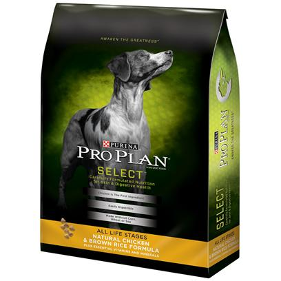 Purina Presents Purina Pro Plan Natural Chicken &amp; Brown Rice Formula Plus Essential Vitamins Minerals 17.5lb Bag. Purina Pro Plan Natural Chicken &amp; Brown Rice Formula is Formulated without Corn, Wheat or Soy, Artificial Colors, Flavors or Preservatives. Real Chicken is Always the #1 Ingredient Along with High-Quality Protein to Help Support a Healthy Heart, Muscle Mass, Strong Immune System, and Bone Structure. The Brown Rice and Oat Meal is Easily Digestible, High-Quality Sources of Carbohydrates, not Filler. The Whole Egg is an Extra Added Bonus of an Additional Protein Source, Rich in Linoleic Acid, for Healthy Skin and Radiant Coat. In Case you Did Know, 30% of this Formula is Protein - Formulated to Help Support the Metabolic Needs of Highly Active Dogs. [37906]