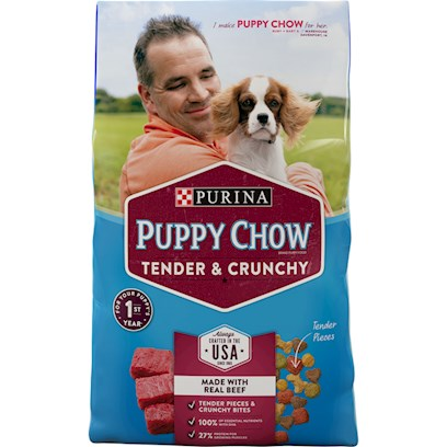 Purina Presents Purina Puppy Chow Healthy Morsels with Soft &amp; Crunchy Bites Complete Balanced for Growing Puppies 32lb Bag. Purina Puppy Chow Healthy Morsels with Soft &amp; Crunchy Bites Complete &amp; Balanced for Growing Puppies is Made with High Quality Ingredients Including Whole Grains, Real Beef, Vegetable Accents and 23 Vitamins and Minerals to Help Lay the Foundation for a Healthy, Active Life. Every Bowl Contains a Great Tasting Variety of Soft &amp; Crunchy Bites to Help Keep your Puppy Happy and Healthy Day After Day. [37911]