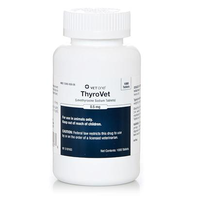 Vet One Presents Thyro Vet 0.5mg Per Caplet. Thyro Vet (L-Thyroxine) are a Veterinary Medication Used to Treat Hypothyroidism in Dogs and Cats. Hypothyroidism is a Condition Associated with Low Circulating Thyroid Hormones. If your Dog or Cat has this Condition, Thyro Vet (L-Thyroxine) are a Synthetic Hormone Replacement for the Thyroid Hormone. Once the Medication has been Administered, the Active Ingredient, Levothyroxine, is then Absorbed into the Bloodstream and Carries out the Tasks that a Thyroid Hormone Usually Would. This Treatment is Proven to Help. Your Pet will Soon have More Energy and Vitality. Thyro Vet Come in Tablet Form and are Taken Orally. They can be Given to your Pet Directly or Mixed Together with the Animal's Food, and the Dosage is Usually Determined by Examining the Blood Levels of Thyroxine. The Prescription is Sure to Provide your Pet with Fast Relief and Obvious Overall Improvement in his Health. Try Thyro Vet (L-Thyroxine) Today! [37923]