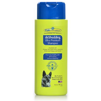 Furminator Presents Furminator Deshedding Ultra Premium Shampoo 16.5oz. Naturally Decrease your Pet's Shedding with Furminator Deshedding Ultra Premium Shampoo. Enriched with Omega 3 and 6 Fatty Acids, and Packed with Vitamins and Proteins to Strengthen your Pet's Coat and Reduce Shedding. Safe and Effective on Both Cats and Dogs, this Shampoo is Non Drying, Non Irritating, and Hypo Allergenic. This Blend of Natural Ingredients Helps Protect Against Excessive Shedding, Leaving a Healthy and Shiny Coat. Finally, the First Line of Defense Against Shedding Lies in Every Single Bath. Furminator Ultra Premium Shampoo is an all-in-One Protection Against Shedding, and Promotes a Healthy, Smooth Coat at the Same Time. Soon You'll be Curling Up with your Pet on the Couch without the Worry of Excess Hairs on your Clothes and in the House. [38053]