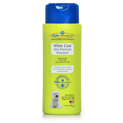 Furminator Presents Furminator White Coat Ultra Premium Shampoo 16.5oz. Your Pet's White Coat can Lose its Luster over Time, Especially when your Pet Likes Getting Dirty and Playing Outside so Much More than Staying Clean and Looking Good. Furminator White Coat Ultra Premium Shampoo Offers a Unique Blend of Natural Ingredients that Revitalizes the Coat, Bringing out the Natural Shine and Reducing Yellowing of the Coat. Enriched with Vitamin B5 and Juniper Fruit Oil, this Formula Includes no Parabens, no Chemical Dyes, and is Made in the Usa. It's Everything you Need for a Natural, Safe, Healthy White Shine. For Topical Use on Dogs and Cats over 6 Weeks Old. [38054]