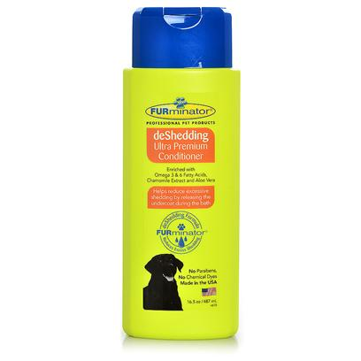 Furminator Presents Furminator Deshedding Ultra Premium Conditioner 16.5oz. Have your Pet Strut their Finest Coat while you Enjoy a House with no Excess Pet Hair to Clean Up. When Used with Furminator's Deshedding Shampoos, Furminator Deshedding Ultra Premium Conditioner will Help to Drastically Reduce Unwanted Shedding. By Releasing the Undercoat During Bathing, this Shampoo Helps to Reduce Shedding Significantly so your House is Cleaner and your Pooch or Cat is Happier and Healthier. [38056]