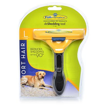 Buy Furminator Deshedding Tool Short Hair Large-51 to 90 Lbs we all Love our Pets. But the Shedding is Something we can do Without! The Furminator Deshedding Tool Reduces Shedding Up to 90%, Keeping your Pet's Coat Trim and Healthy, and Thus Keeping your Clothes, Carpets and Furniture Cleaner. Shedding is Natural and there's no Way to Eliminate It. But there is a Better Way than Constantly Vacuuming and Scrubbing Hair off your Floor, Furniture, Clothing and Car Seats. The Different Sized Stainless Steel Deshedding Tools are Designed for Different Sized Dogs, Making your Grooming Experience Customized and Optimized. [38066]