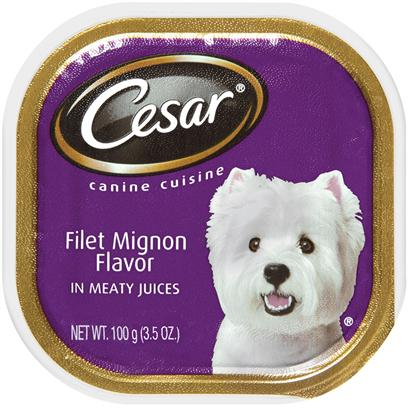 Cesar Canine Cuisine With Filet Mignon Flavor In Meaty Juices