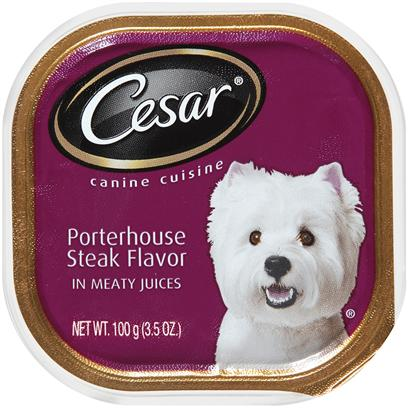 Cesar Canine Cuisine With Portherhouse Steak Flavor In Meaty Juices