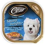 Cesar Canine Cuisine Savory Delights Rotisserie Chicken Flavor With Bacon & Cheese In Meaty Juices Canned Dog Food