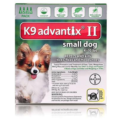 K9 Advantix II for Dogs Green, 10 lbs. and under, 4 Month Supply