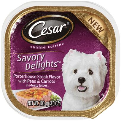 Cesar Canine Cuisine Savory Delights Porterhouse Steak Flavor With Peas & Carrots In Meaty Juices