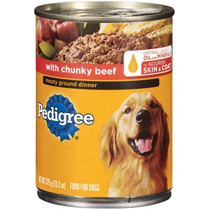 Pedigree Meaty Ground Dinner With Chunky Beef Dog Food 22 Oz - Case Of 12