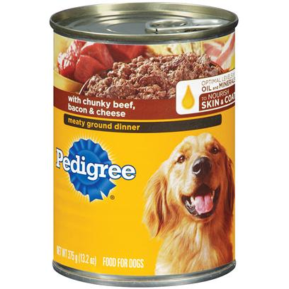 Pedigree Meaty Ground Dinner With Chunky Beef, Bacon & Cheese Dog Food 22 Oz - Case Of 12