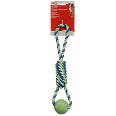 Dogit Striped Rope Toy with Tennis Ball