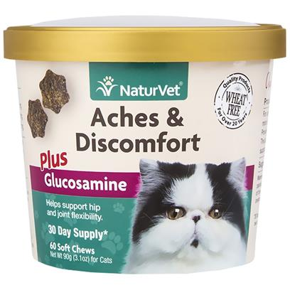 NaturVet Aches & Discomfort Plus Glucosamine for Cats 60 Soft Chew