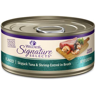 Wellness Signature Selects Grain Free Natural Skipjack Tuna with Shrimp Entree in Broth Wet Canned Cat Food 5.3-oz, case of 12