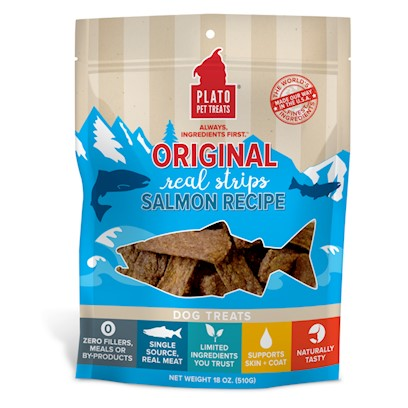 Plato All Natural Salmon Strips Dog Treats 6-oz