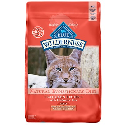 Blue Buffalo BLUE Wilderness Grain Free Indoor Hairball and Weight Control Chicken Recipe Dry Cat Food