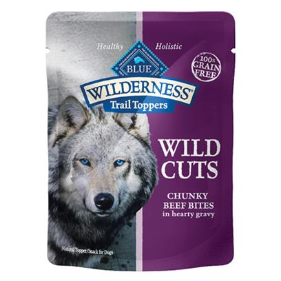 Blue Buffalo Wilderness Wild Cuts Trail Toppers Chunky Beef Bites in Hearty Gravy Dog Food Pouch