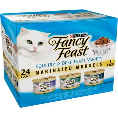 Fancy Feast Beef and Poultry Marinated Morsels Variety Pack Canned Cat Food in Gravy