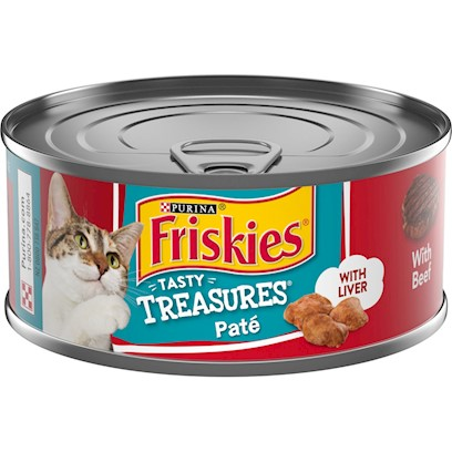 Friskies Tasty Treasures Pate Beef and Liver Dinner Canned Cat Food