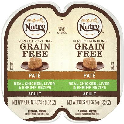 Nutro Perfect Portions Adult Grain Free Chicken, Liver and Shrimp Pate Wet Cat Food Trays