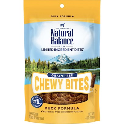 Natural Balance L.I.D. Limited Ingredient Diets Grain Free Chewy Bites Duck Formula Dog Treats