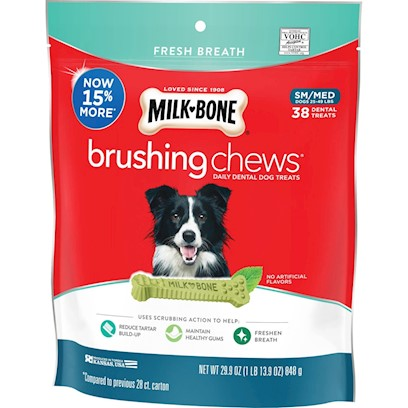 Milk-Bone Fresh Breath Daily Dental Brushing Chews for Small & Medium Dogs